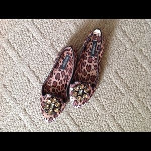 WHBM satiny leopard flats with rhinestones